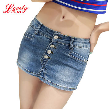 Denim Skorts Shorts Skirt Woman 2016 New Fashion Double Button Slim Sexy Ladies Shorts Jean Plus Size S-3XL Short Jeans