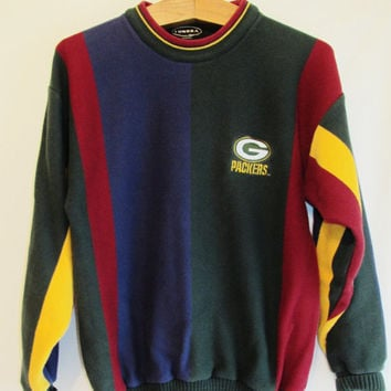 Vintage 1990's Striped Green Bay Packer Sweater