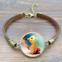 Pokemon Glass Bracelet Vintage Brown Rope Charm Bracelet
