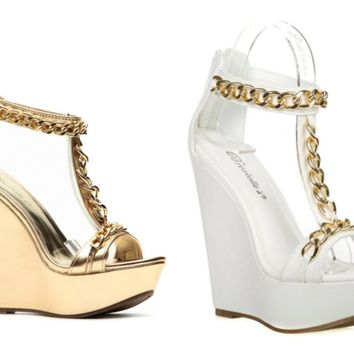 Breckelles Vivi-05 Strappy High Heel Wedge Shoes Sandals Metallic Gold Chain