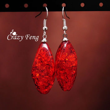 Crazy Feng Women's Free Shipping Vintage Retro siliver Plated Amber African Drop Dangle Hook Earrings Christmas Gifts