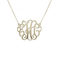 Vine Monogram Necklace.Personalized Monogram Name Necklace, Small Monogram Necklace, 925 sterling Silver Name Necklace