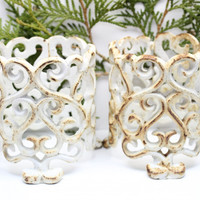 Cast Iron Painted Rusted Votive Holders Scroll Design Cottage Garden