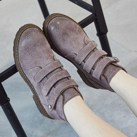 Leather Round Toe Solid Color Flat Short Boots