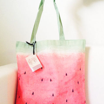 Pink Watermelon Tote Bag, 100% Organic Tote, Hand Painted Watermelon Tote Bag, Personalized Watermelon Canvas Tote Bag