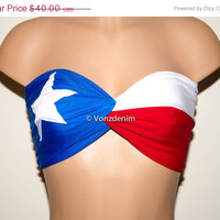 VALENTINES DAY SALE Padded Texas Flag Bandeau Top, Twisted Spandex Bandeau Bikini in Blue, White and Red
