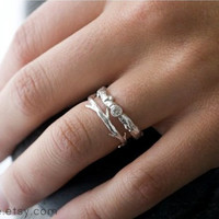 Moissanite Branch and Twig Ring Set   Stacking Set   Nature Inspired Rings