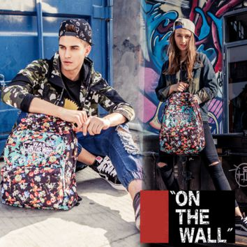 """Vans""Fashion Personality printing large capacity backpack bag leisure travel boom Colorful flowers(8 style)"