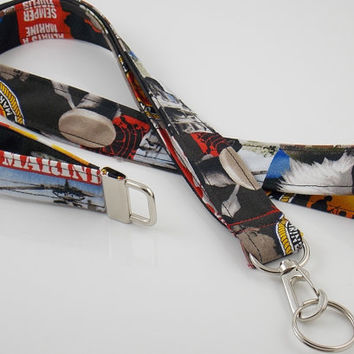 Marines Military Armed Forces Veterans Lanyard, ID Badge Holder and Mini Key Fob