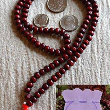 Rosewood red sandalwood 8mm handmade 108+1 beads prayer japa mala necklace -Energized yoga meditation beads jaap mala - Free mala pouch included - USA Seller