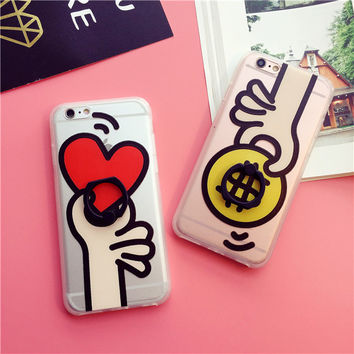 Couple transparency mobile phone case for iphone 6 6s 6plus 6s plus + Nice gift box!