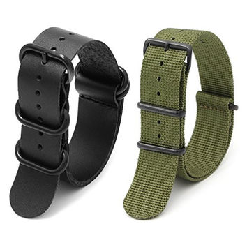 2pc 22mm Nato Ss Nylon Striped Army Green , Black Leather Replacement Watch Strap Band