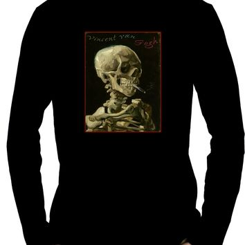 Skeleton SmokingMen's Long Sleeve T-Shirt Vincent Van Gogh Painting