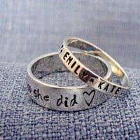 Sterling Silver Ring - Hand Stamped Ring - Personalized Ring - Thin Band - ONE Ring