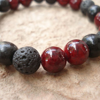 Black Lava Stone Bracelet with Red Quartzite and Black Wood
