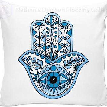Blue Hamsa Pillow