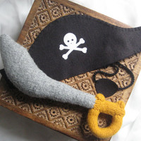 Pirate Costume Set felted wool stuffed sword wool by LumboGimbo
