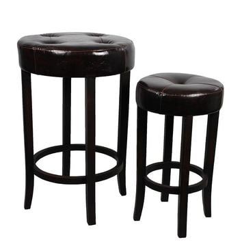 Soft And Sturdy Wood Round Leather Stool Set