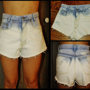 High Waisted Ombre Denim Shorts Upcycled Vintage Style Women Juniors All Sizes