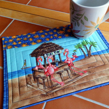 Flamingo Tiki Time Summertime  Mug Rug or Candle by QuiltingDiva