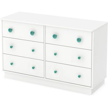 South Shore Little Monsters 6-Drawer Double Dresser, White - Walmart.com