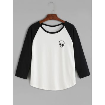 Two Tone Graphic Embroidered Raglan Sleeve T-shirt