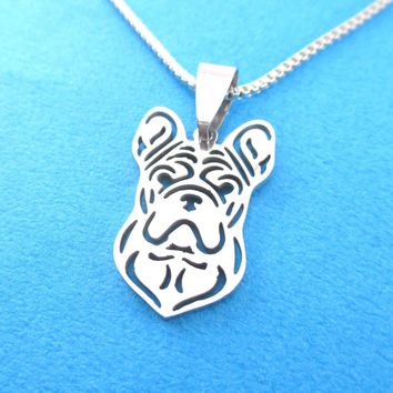 Detailed French Bulldog Shaped Cut Out Pendant Necklace in Silver | Animal Jewelry