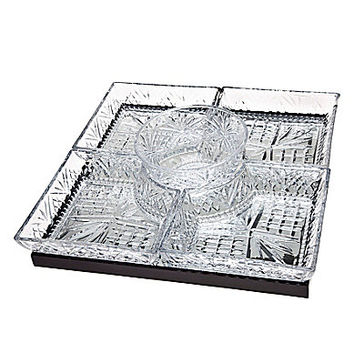 Godinger Dublin Square Lazy Susan with Mirror Tray