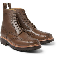 Grenson Fred Textured-Leather Brogue Boots | MR PORTER