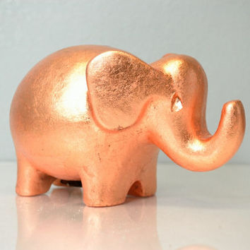 Bank Copper Gild Elephant - Coin Bank Unique Custom Creation - Adorable Elephant Coin Bank