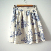 Blue and Cream Toile High Waisted Skirt