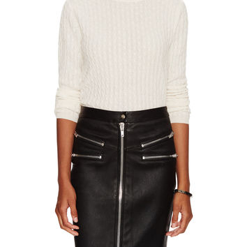 In Cashmere Women's Cashmere Cable Knit Sweater - White -