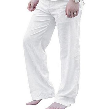 Litthing Mens Nature Cotton Linen Trousers Summer Pants 2XL Casual Male Solid Elastic