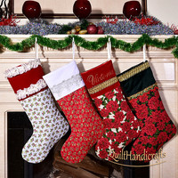 Create your own, unique design Christmas Stocking Quilted Patchwork Christmas boot from a fabric Personalized Family X-mas Stocking Gift