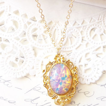 Pink Fire Opal Necklace - Victorian Gold Setting - Mothers Day Gift - Birthstone Necklace - October Birthday - 16k Gold Plated