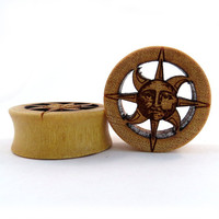 "Cutout Sun Yellowheart Wooden Plugs 7/8"" (22mm) 1"" (25.5mm) 1 1/8"" (28mm) 1 1/4"" (32mm) 1 1/2""(38mm) (44mm)"