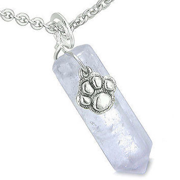 Amulet Lucky Wolf Paw Crystal Point Charm Light Amethyst Gemstone Good Luck and