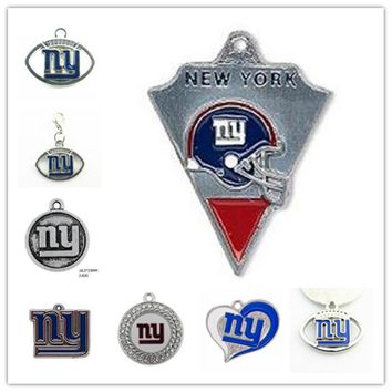 Alloy Enamel Football Team New York Giants Dangle Charms Pendant For DIY Necklace & Bracelet & Earring Jewelry 20pcs/lot