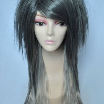 Sin Straight Layered Wig in Platinum Gray Ombre