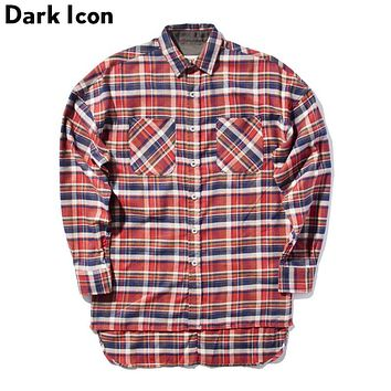 Flannel Plaid Over sized Men Shirt Long Sleeve Spring Hip Hop Shirts Men Man Clothing