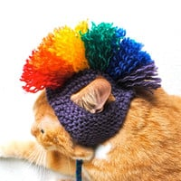 Mohawk Cat Hat  Purple and Rainbow by bitchknits on Etsy