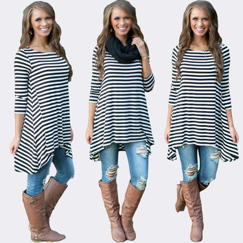 Black and White Striped Asymmetrical Dress Top