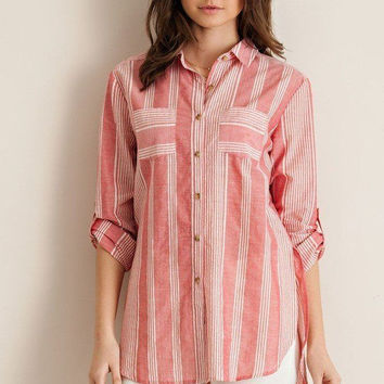 Faded Red Striped Button Down Shirt