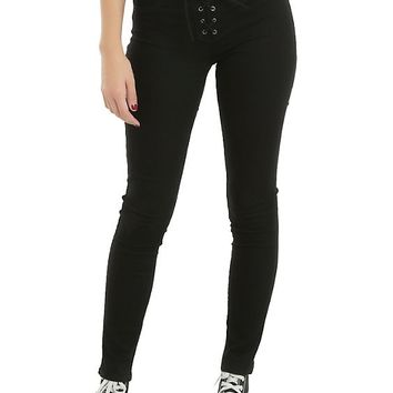 Blackheart Black Lace-Up Super Skinny Jeans