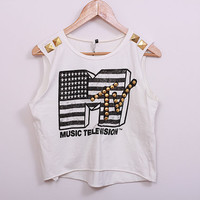 Studded MTV Crop Top Short T-shirt