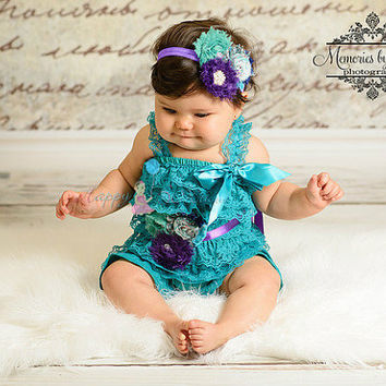 NEW, 3pcs baby and toddler, Peacock Teal Lace Petti Romper set, Romper and sash set, Teal Jade outfit, Birthday outfit, baby outfit