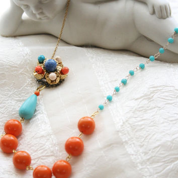 Orange and Turquoise Beaded Flower Statement by nightowlcreates