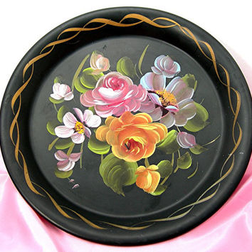 Tole Paint Black Wall Pocket, Colorful Roses Flowers, 10 inch, Wall Art, Vintage Mid-century Home Decor, Cottage Chic Wall Plaque