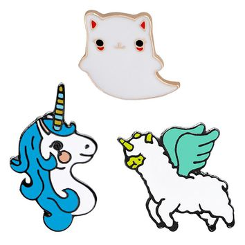 Cute Animal Flying Ghost Unicorn Enamel Pins Lapel Badge Fashion Jewelry Accessories