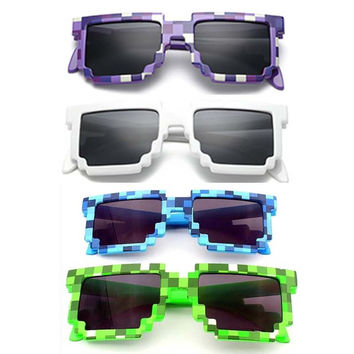 Fashion  Sunglasses Kids cos play action Game Toys Minecrafter Square Glasses with EVA case gifts for Men Women